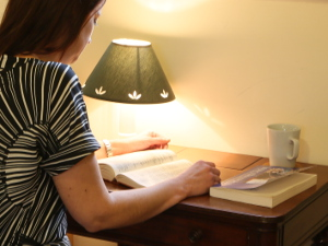 guest reading at desk in bedroom
