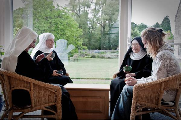Alongsider relaxing with nuns